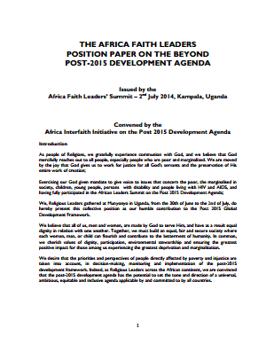 Africa Faith Leaders Position Paper on the Post 2015 Development Agenda thumbnail